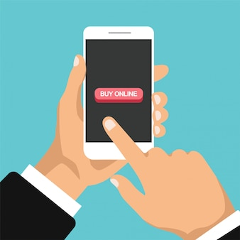 Hand holds smartphone and buy online. big red button on the phone screen. man click on the smartphone display. flat illustration. isolated.