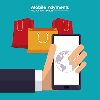 Hand holds smartphone mobile payment bags gifts global