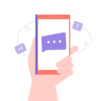 Hand holds smartphone. new message, notification of an incoming letter, email. chats and online communication.  flat illustration.