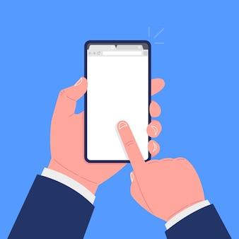 손은 화면에 브라우저와 스마트 폰을 보유하고 있습니다.