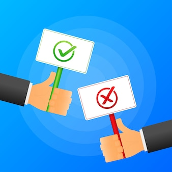 Hand holds yes or no sign realistic red and green table on blue background.