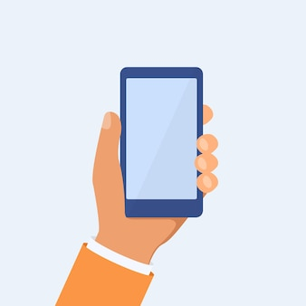 Hand holing smartphone in flat style. phone in hand concept. vector eps10