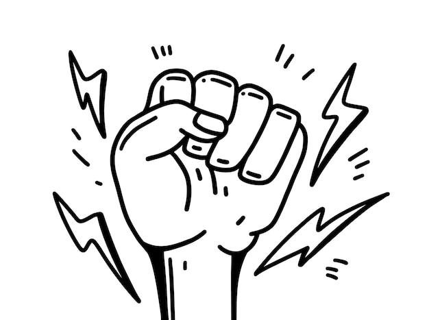 손 인간의 그림 페미니즘 운동 그림입니다. 흰색 배경에 고립.