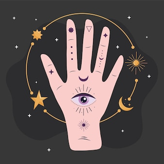 Hand human with eye esoteric and golden stars and moon  illustration design
