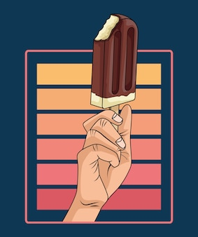 Hand human with ice cream in stick pop art style