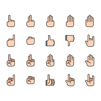 Hand icon and symbol set