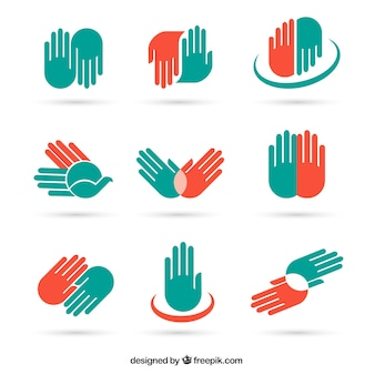 Hand icons and symbols