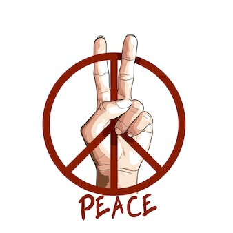 Hand in peace sign