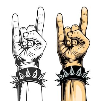 Рука в рок-знак.