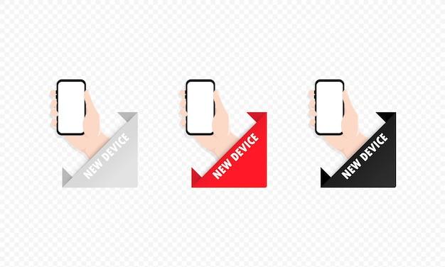 Рука держит иллюстрацию значка смартфона. мобильный телефон с пустым экраном. вектор eps 10. изолированные на прозрачном фоне.