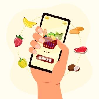 손은 화면에 온라인 식료품 점이있는 스마트 폰을 들고 음식을 주문합니다. 플랫 스타일로 음식 온라인 개념을 주문하십시오.