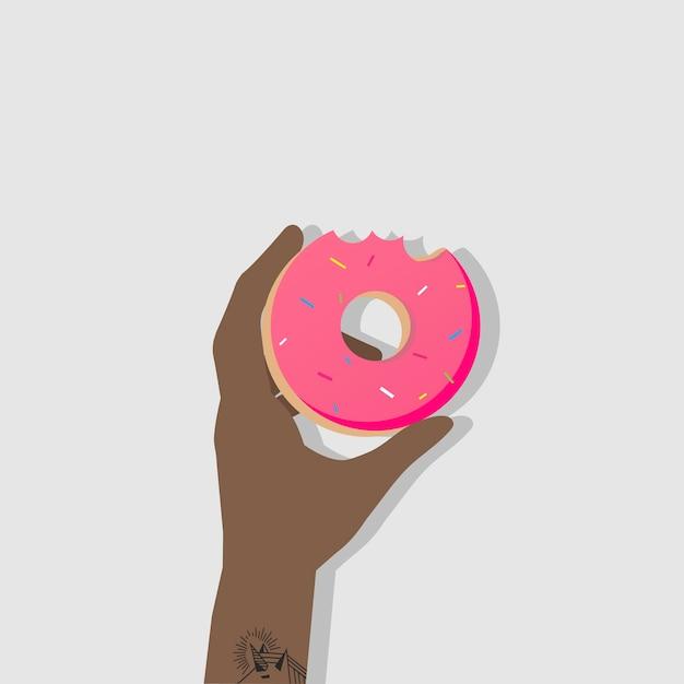 Hand junk food african grabbing arm man