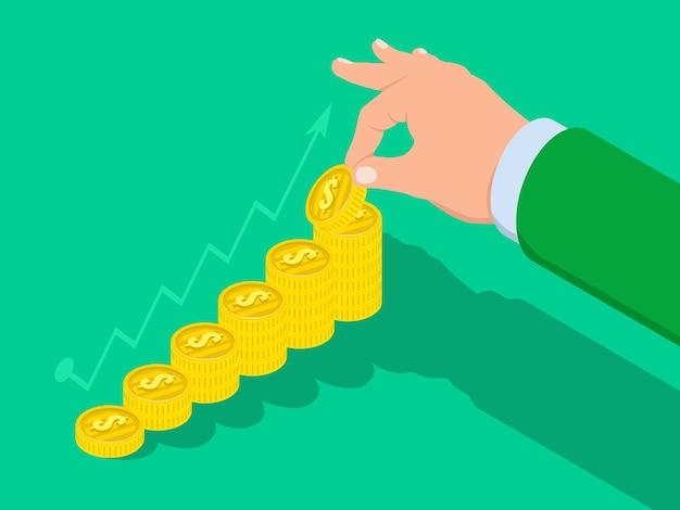 手は金貨のはしごを上げ、ビジネス成功の概念