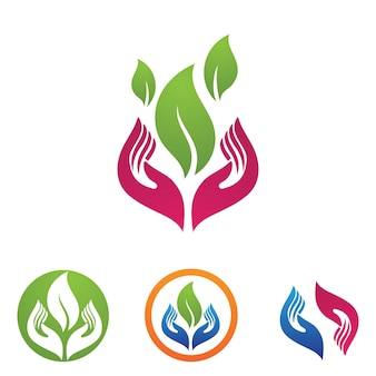 Hand and leaf logo and symbol nature vector