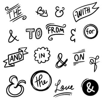 Hand lettered ampersands and catchwords. vintage doodle ampersands, ribbon, catchwords, calligraphy. hand drawn design elements set. vector illustration