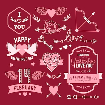 Hand-lettered vintage st. valentines card elements set - with handmade calligraphy