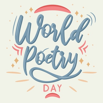 Hand lettering calligraphy world poetry day