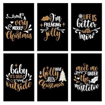 喜びの言葉で手書きレタークリスマスカードコレクション