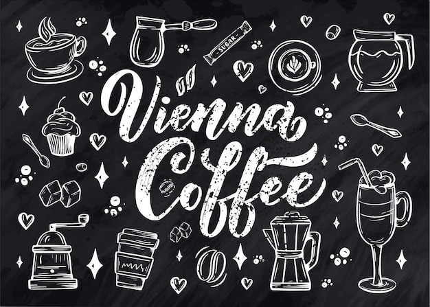 Hand lettering coffee elements in sketch style