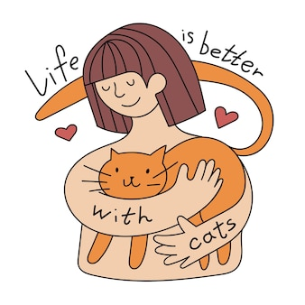 주황색 고양이를 껴안고 있는 어린 소녀와 손으로 쓴 글씨