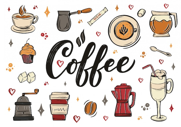Hand lettering ellements in sketch style for coffee shop or cafe. hand drawn vintage cartoon design, isolated