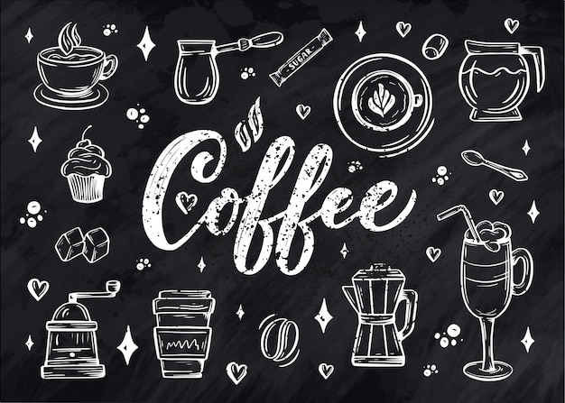 Hand lettering ellements in sketch style for coffee shop or cafe.
