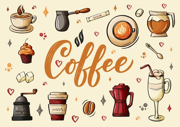 Hand lettering ellements in sketch style for coffee shop or cafe
