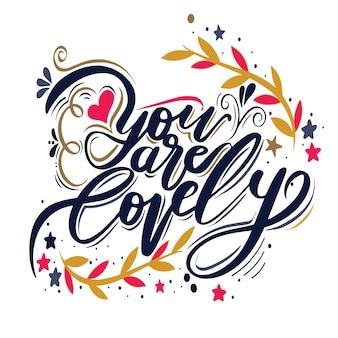 バレンタインデーや結婚式のためのhand-lettering.forグリーティングカードで描かれたヴィンテージのイラストを手します。