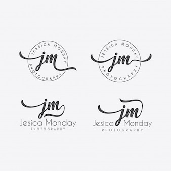 Hand lettering logo template collection vector