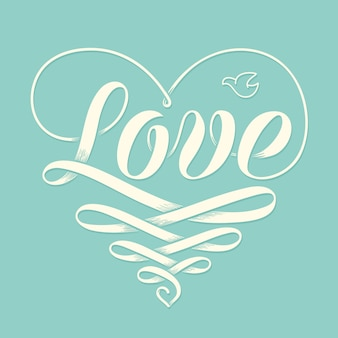 Hand lettering love in heart with old school engraving ribbon and pigeon for greeting card