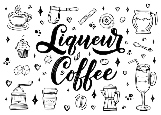 Hand lettering name of coffee with sketch for coffee shop or cafe
