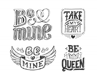 Hand lettering phrase for valentines day poster