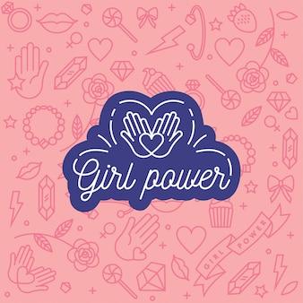 소녀의 힘과 페미니스트 운동과 관련된 핸드 레터링 문구.