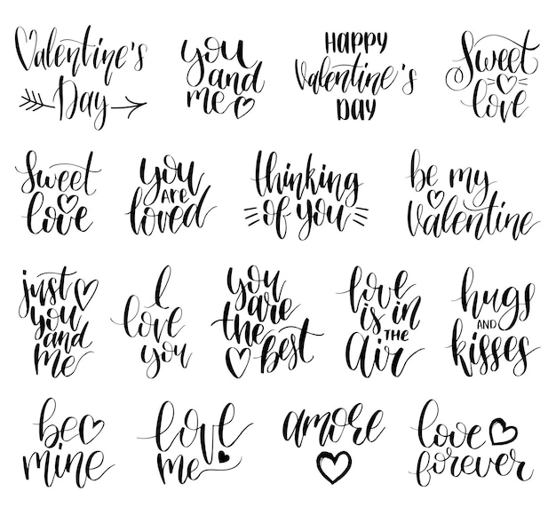 Hand lettering phrases take my heart, hugs and kisses. calligraphy set. valentines day typography.