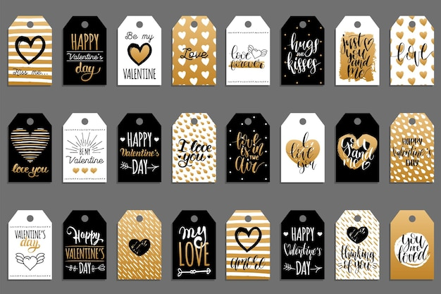 Hand lettering phrases you are the best, love is in the year, on labels or tags. calligraphy set. valentines day typography.