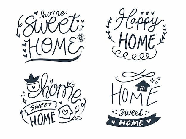 Hand lettering print decoration set of home sweet home.