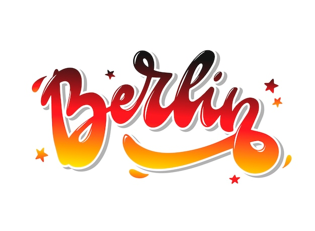 Hand lettering quote 'berlin' for prints, cards