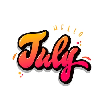 Hand lettering quote 'hello july'