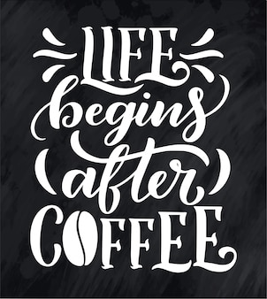 Hand lettering quote with sketch for coffee