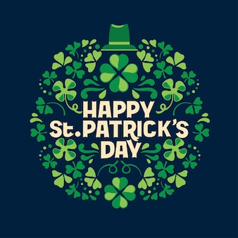 Hand lettering saint patrick's day greetings card with clover shapes and branches vector premium