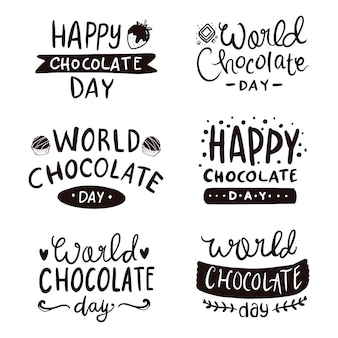 Hand lettering typography of happy world chocolate day doodle illustration line art vector Premium Vector