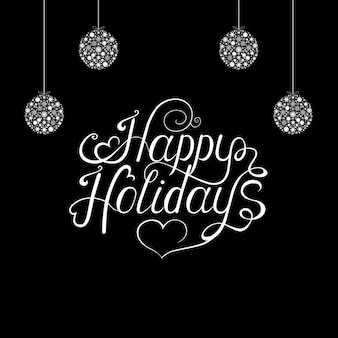 Hand lettering and  xmas tree balls  on black  background. christmas  greeting  card. vector template.