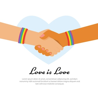 Hand of lgbt holding together with rainbow ribbon symbol