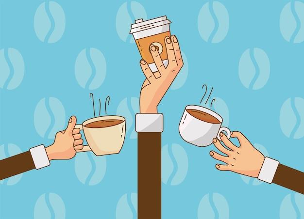 Ручной подъем кофейных напитков в керамических чашках и пластиковом контейнере
