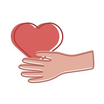 ハートの愛のアイコンを持ち上げる手