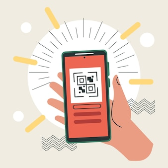 Hand lifting smartphone with qr code