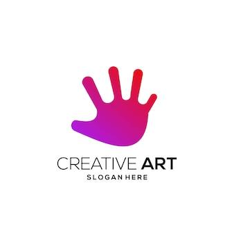손 로고 다채로운 현대 그라데이션