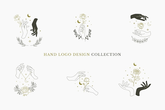 Hand logo design collection with crescent moon, rose flowers and florals element flat minimalism design