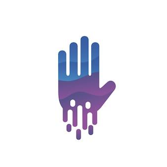 Hand logo design in vector