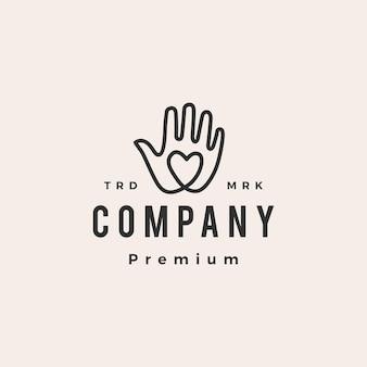 Рука любовь битник винтажный логотип